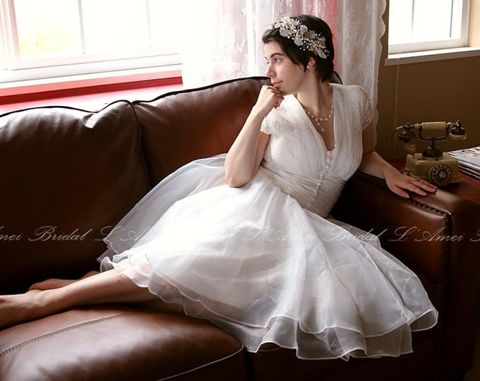 Vintage Style Alice in the Garden Tea Length A-Line Wedding Dress featuring Cap Sleeves and Bow.