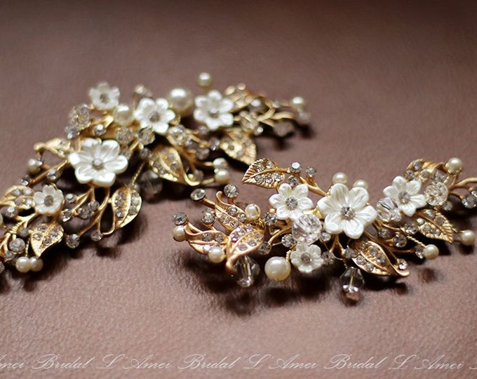 SALE-Small White and Golden Rhinestone Flower Blossoms on Metal Vine Bridal Hair Accessories cilp