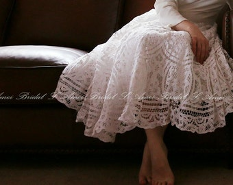 Long  sleeve Tea length battenburg lace wedding dress - Alice in the Garden - Handmade cotton wedding gown -L'Amei 2017