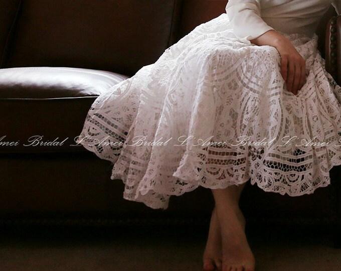 CLEARANCE - Long  sleeve Tea length battenburg lace wedding dress - Alice in the Garden - Handmade cotton wedding gown -L'Amei 2017
