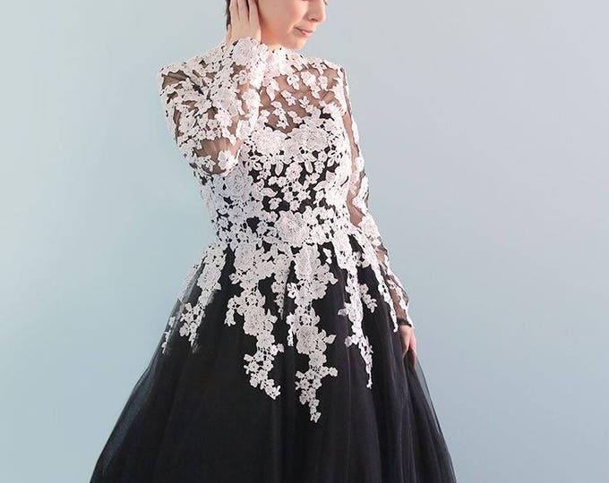 Classic Long Sleeve A-Line Ivory Lace Black Tulle Wedding Bridal Dress with Stunning High Neck and Chapel Length Train. L'Amei Spring 2018