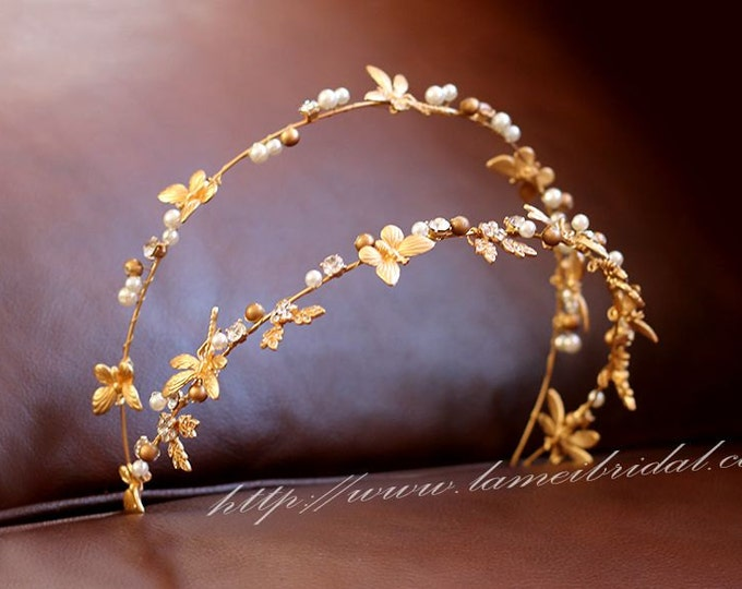 Golden Goddess Wedding Crown Circlet Wreath with Golden Flowers and  dragonfly, Small Flowers and Little  dragonfly hair vine