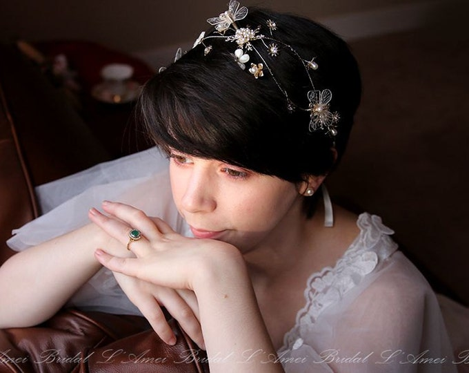 SALE-Golden Butterfly Head Crown Wedding Hair Accessory with Faux Pearl Accents, Butterfly hair vine, wedding hair vine