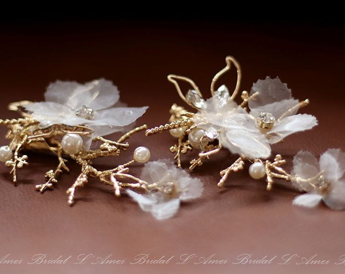 Clearance-Gold Butterfly Bobby Pins, Butterfly Hair clip, Bridal Flower Bobby Pins, Bridal Hair clip set, Flower Hair Clips for Wedding