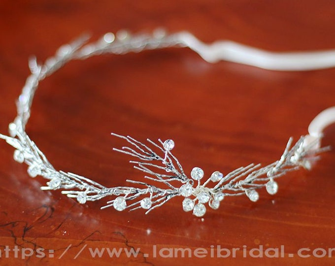 Silver Goddess Wedding hair vine, silver crystal leaf hair Crown,silver head Circlet ,silver Head Wreath with Leaves and Rhinestone