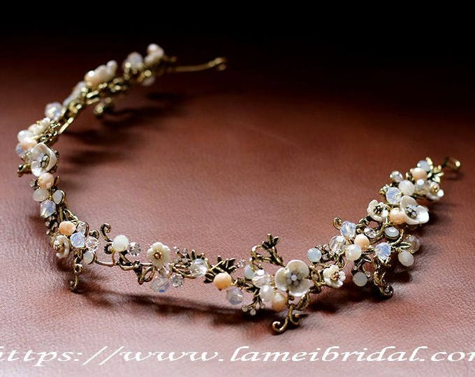 Forest Princess wedding Headband, Nostalgic metallic Bridal Circlet Small Wild Flower Wedding Crown ,small flower Headpiece Wreath Accessory
