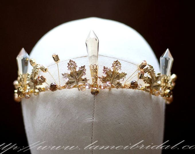 Gold leaf Wedding hair crown , Crystal Crown , Gold bridal Tiara , Wedding crown, Gothic Tiara, Greek goddess hair accessory