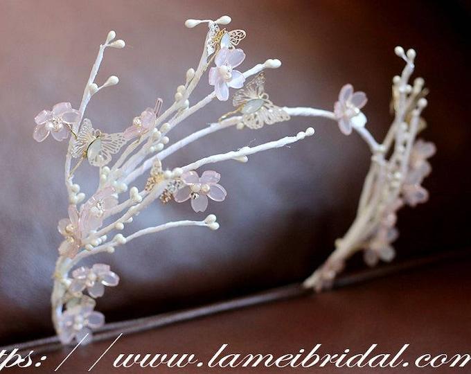 Bridal Pearl Wedding Crown Crystal and Pearl Headband - Wedding Headpiece - Bridal Headpiece for Wedding - Wedding Headdress