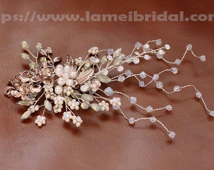 Heavy beaded  Bridal hair vine, silver white pearl wedding hair clip, Bridal Hair Vine, Bridal Headpiece, Crystal Bridal Headband