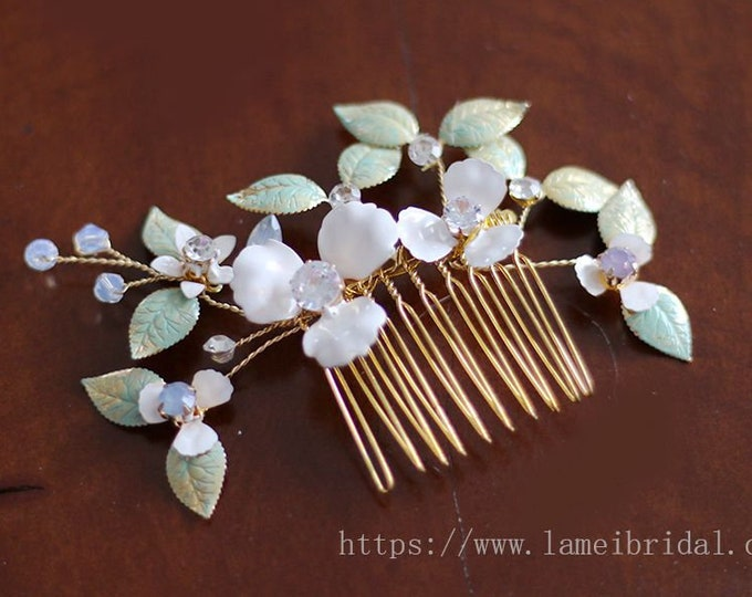 Ivory Bridal Flower Hair Clip, Wedding Hair Accessories, white flower Hair Accessory, flower hair clip, flower hair pin, Bridal hair comb
