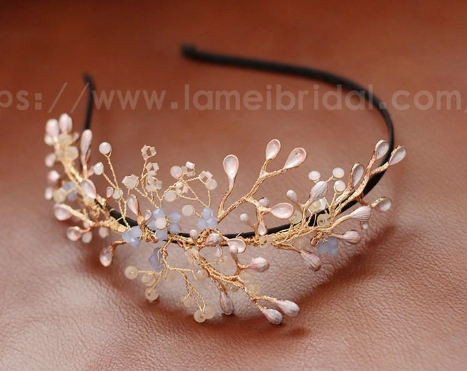 Forest Princess wedding Headband,Floral Bridal Circlet Small Wild Flower Wedding Crown , Bridal Headpiece ,wedding head Wreath Accessory