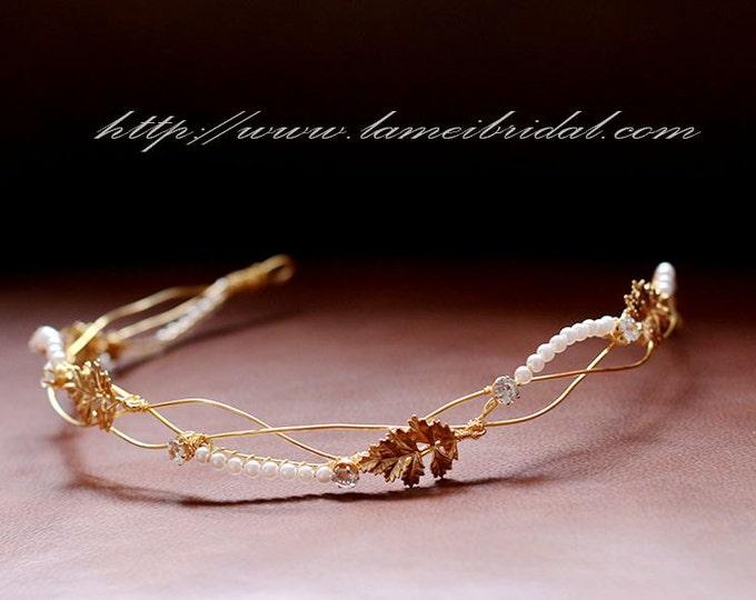 Sale -Gold Leaf and pearl Bridal hair vine. gold wedding hair Halo, Bridal Pearl Hair Vine, Bridal Headpiece, Gold leaf Bridal Headband