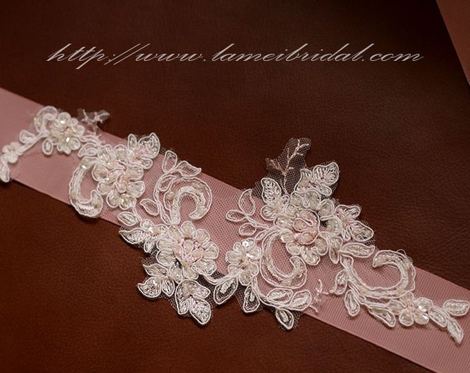 Blush lace Wedding Sash , pink Bridal Belt Accented with Hand Beaded Bling ,Blush wedding dress belt
