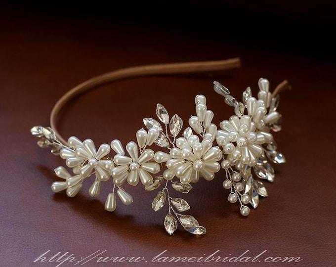 Clearance-Pearl Wedding Crown Circlet Tiaras with ribbon headband ,Ivory pearl and diamond  Headbands