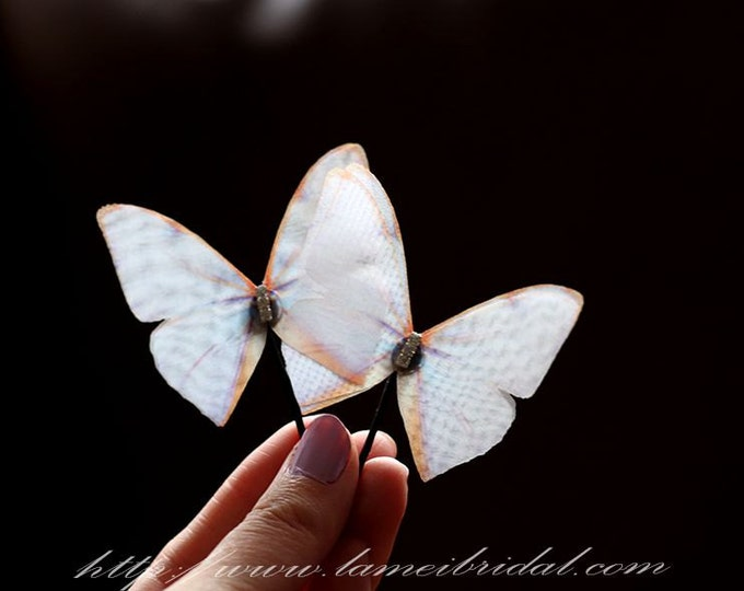 White silk Butterfly Hair Pin Accessory Great for Wedding, Bridal headpiece or Everyday Use.