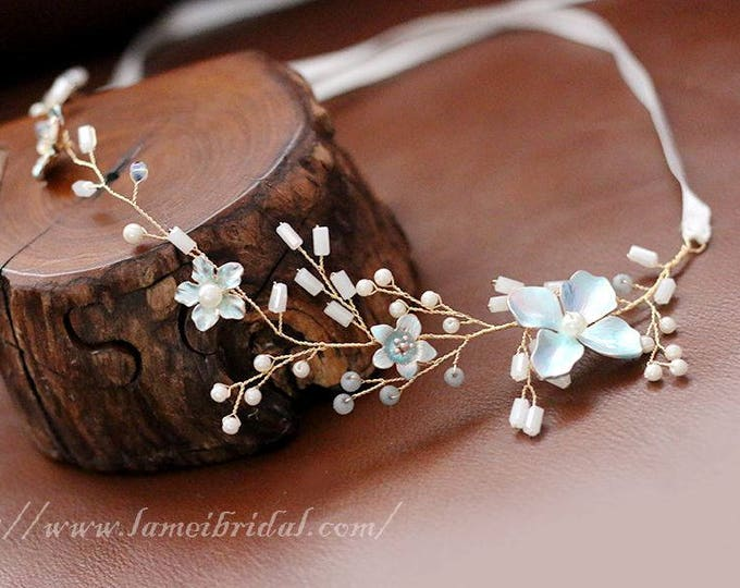 Light blue small flower hair vine, Flower girl  Wedding Headband ,Blue Bridal Crown ,fairy Tiara , Prom Circlet Headpiece,Boho flower vine