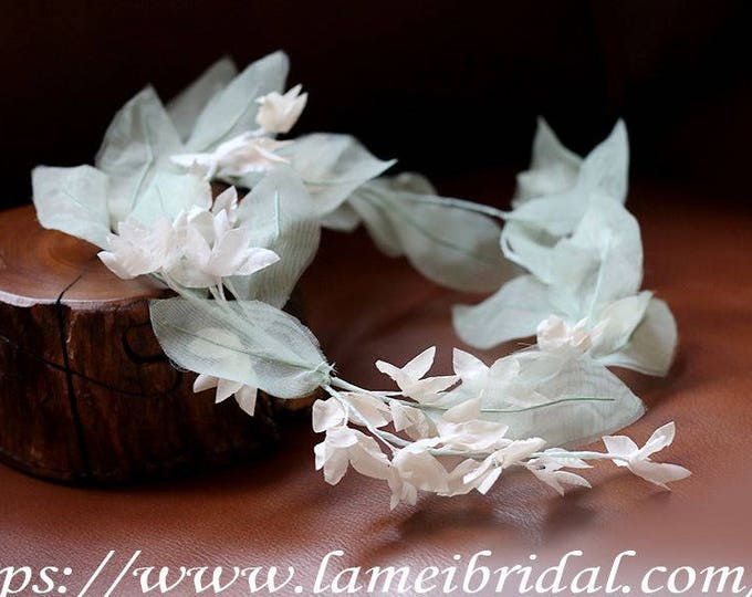 Boho Light Mint Green and Ivory white flower crown, floral bridal headdress,  fairy flower crown,  bridal Green Leaf hair Vine, Bridal Tiara