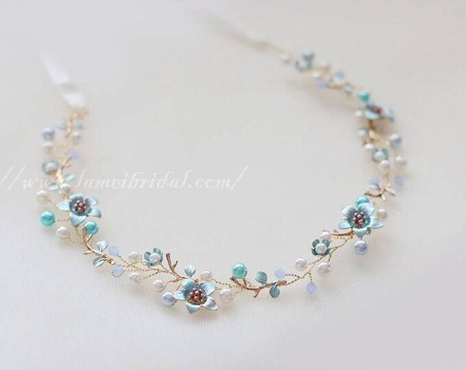Light blue small flower hair vine, Flower girl  Wedding Headband ,Blue Bridal Crown ,fairy Tiara , Prom Circlet Headpiece,Boho flower vine