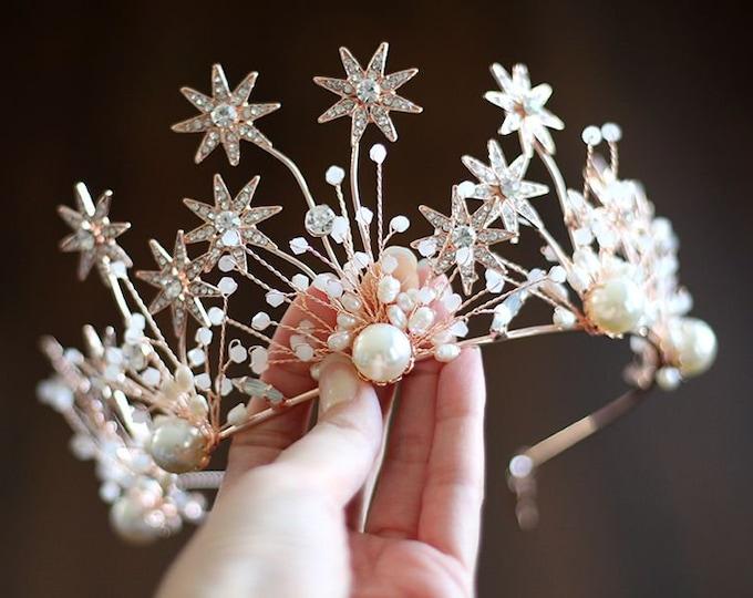 Bridal Rose Gold Rhinestone Leaf Headpiece, Gold wedding Headband ,Formal Wear Wedding Tiara Diadem Crown, Bridal Wreath,Gold Flower crown