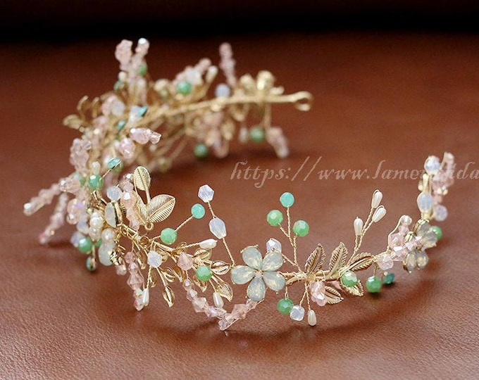 Forest Princess Green leaf wedding Headband,Floral Bridal Circlet Small Flower Wedding Crown , Bridal Headpiece ,wedding head Accessory
