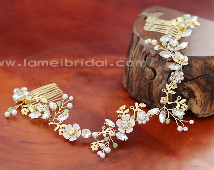 Mint Green Bridal Hair Vine Comb, Boho Rhinestone Headpiece, Beach wedding Headband,Gold hair vine, white hair vine,crystal bridal headpiece