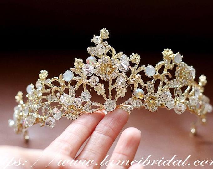 Bridal Gold Rhinestone Leaf Headpiece, Gold wedding Headband ,Formal Wear Wedding Tiara Diadem Crown, Bridal Wreath,Gold Flower crown