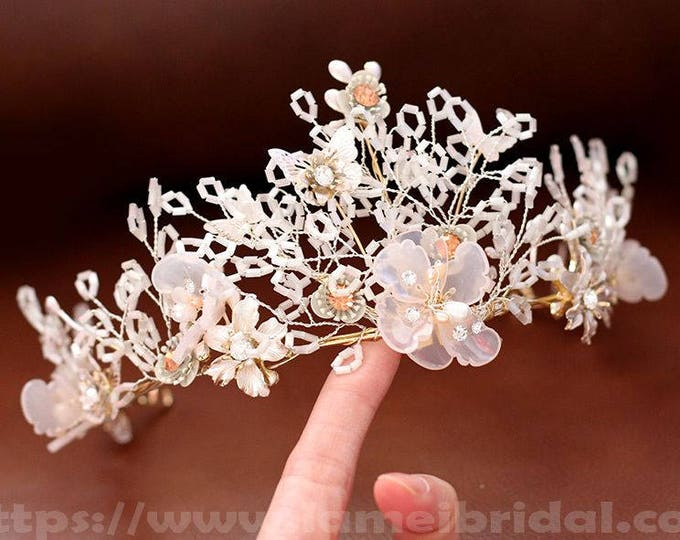Vintage Style Gold White blush Flower and Leaf headband,Bridal Crown, Wedding Hair vine Circlet adorned with Rhinestones and Glass Pearls