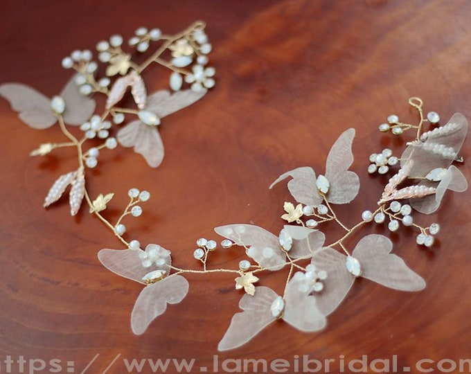 Golden Butterfly Head Crown Wedding Hair Accessory with Faux Pearl Accents, Butterfly hair vine, wedding hair vine