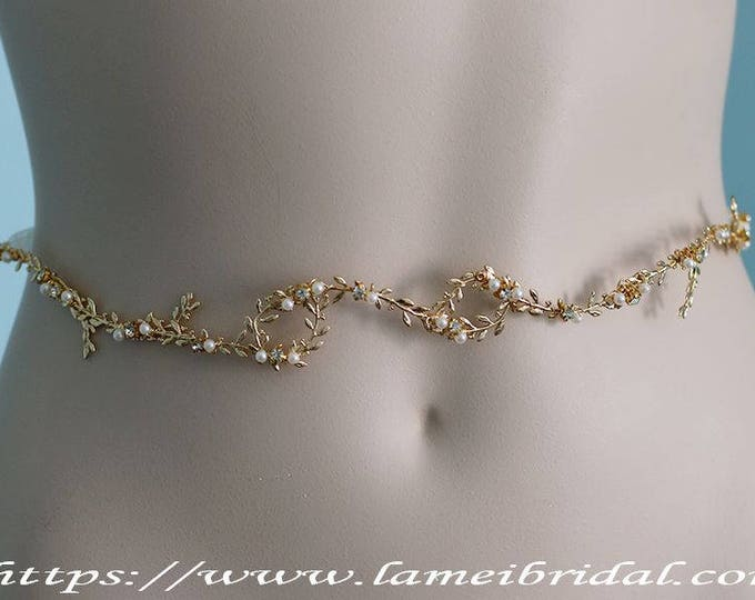 Silver white or Gold Goddess Wedding Dress belt, Gold bridal sash belt ,Gold wedding belt with small Leaves a, pearls and ribbon