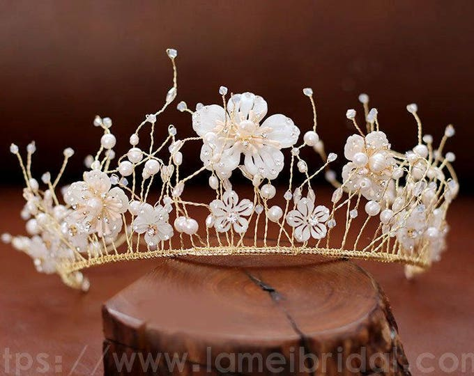 Gold Butterfly Head Crown, Wedding Hair Accessory with artificial crystal Accents, Butterfly hair vine, Ivory Flower wedding hair crown