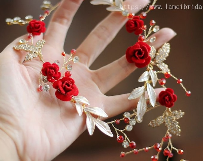 Red rose hair vine, Golden Princess Wedding Headband, Red Bridal hair vine ,Gold fairy Tiara , Red Prom Headpiece,Boho flower hair vine