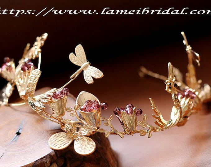 Golden Goddess Wedding Crown Circlet Wreath with Golden Flowers,butterfly and dragonfly, Small Flowers and Little  dragonfly hair vine