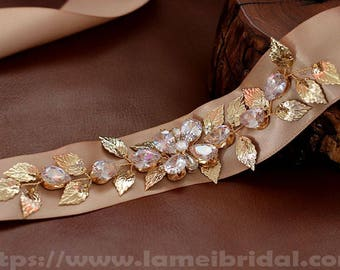 Gold leaf Bridal Sash Belt , Wedding dress Sash Belt , golden Crystal Rhinestone Sash Belt , Champagne Wedding dress Sash Belt