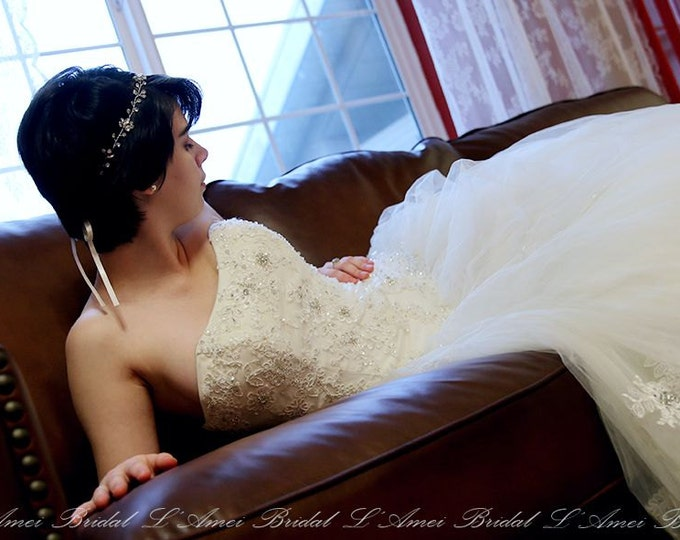 CLEARANCE - Yesenia  Princess style Ball Gown- Custom Made French Lace Wedding dress, Ivory white lace and tulle Bridal Ball Gown with Bling