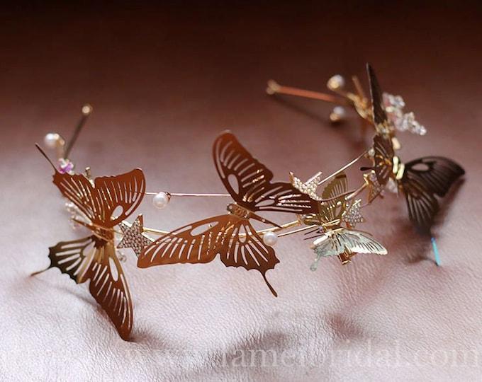 Gold  butterfly Bridal Wedding Crown ,Crystal  butterfly Headband -  butterfly hair clip ,star Headpiece for Wedding - Wedding Headdress