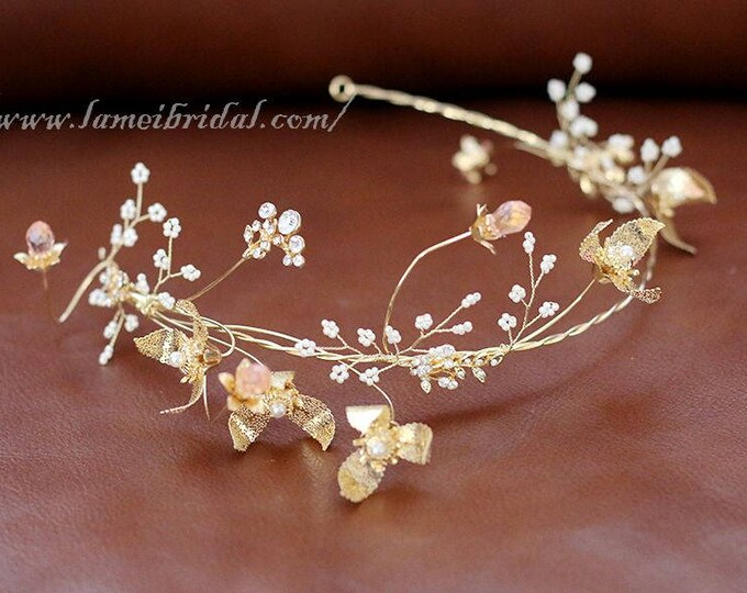 Small Gold Flower with gold leaf  and pearl Wedding hair vine ,Gold Bridal Crown , Golden Tiara Leaf Circlet bridal Headpiece headband