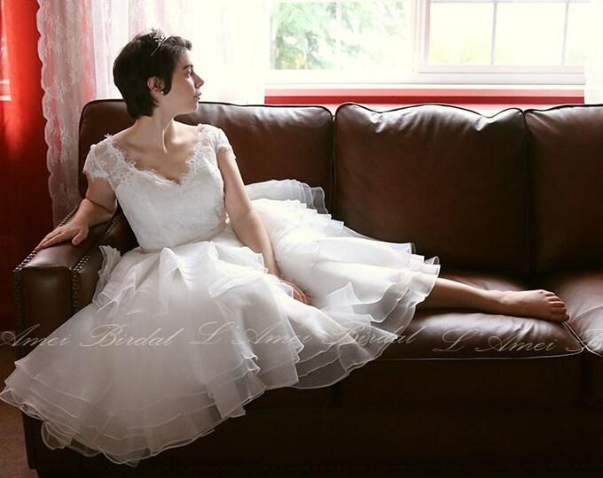 Basque V-neck Multi Layered Unequal Hem Cap Sleeve Lace Wedding Dress - L'Amei 2017