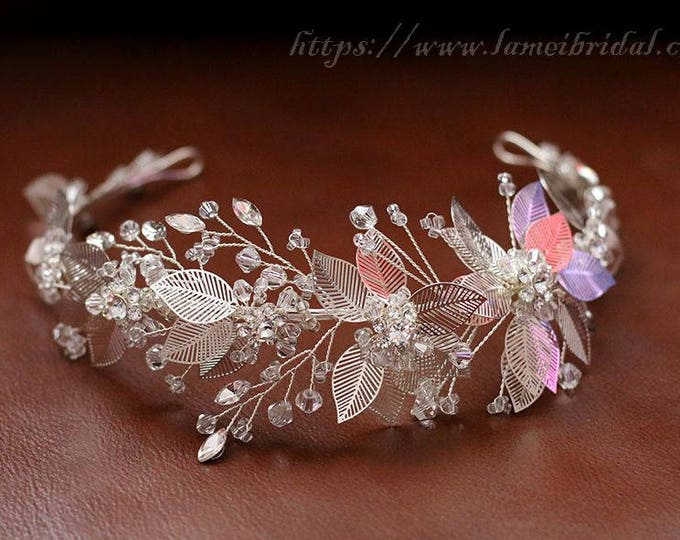 Vintage Style  Silver White Flower and Leaf Bridal headband, Crown Wedding Hair Circlet adorned with Rhinestones and Glass Pearls