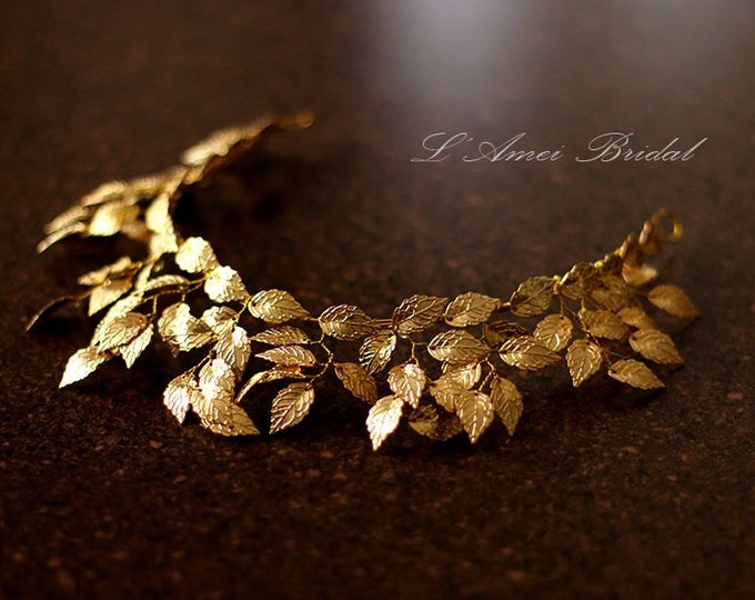 Woodland Queen Golden Wedding Bridal Tiara Headpiece with  gold leaf ,Bridal leaf crown - Bridal headpiece - Greek goddess hair accessory