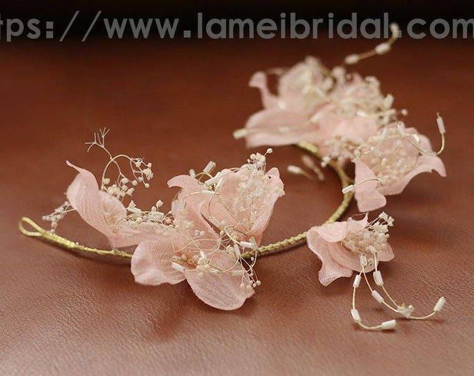Bridal boho flower crown, floral bridal headdress, Gold wedding hair vine, short pink flower crown, boho bridal headband, blush Flower Vine