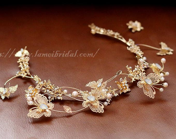 Woodland Princess Butterfly Gold Wedding crown , Gold Crown bridal Tiara , Golden butterfly Hair vine, Gothic Tiara Evil Queen crown