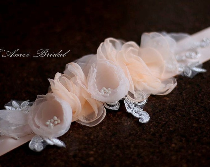 Hand cut Blush and soft pink Flower on Blush ribbon  Wedding dress Sash Belt ,bridal belt, Dress belt
