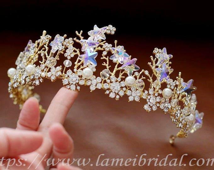 Crystal Rhinestone Bridal Headpiece, wedding crown with Super Cute small stars, Prom dress headband, Bridesmaid crown, Gold bride crown