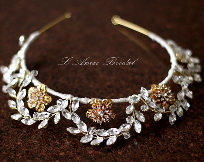 Brilliantly Elegant tiara Wedding Bridal Headpiece Hair Accessory with Crystals Blended with Rhinestones. Unobtrusive and Flashy