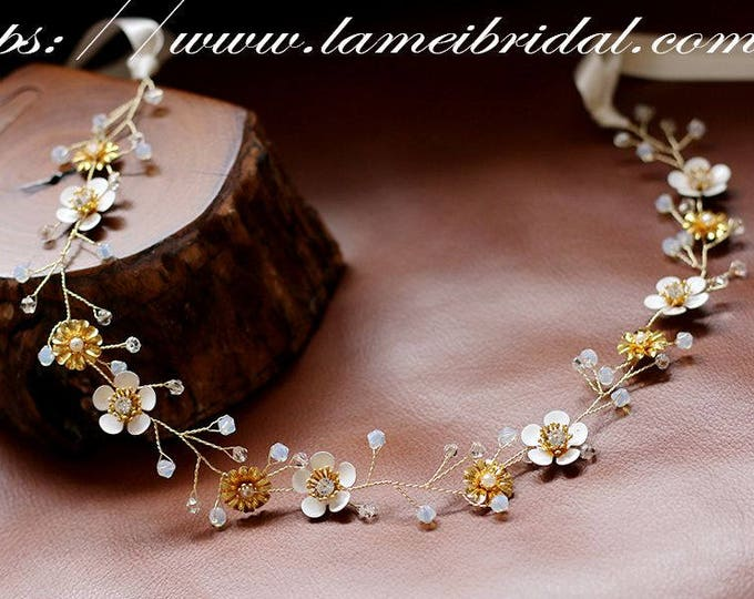 Fall Rustic Flower Wedding Circlet Crown Headpiece Autumn Bridal Hair Accessory Bridal headpiece Bridal vine