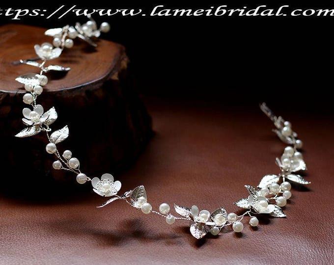 Silver Rustic Flower Wedding hair vine, bridal Circlet Crown Headpiece ,Silver white Bridal Hair Accessory Bridal headpiece Bridal hair vine