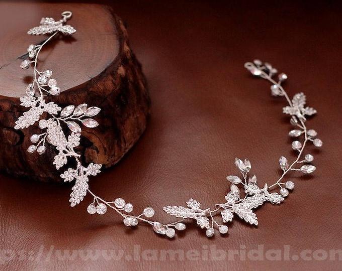 Silver Goddess Wedding hair vine, silver crystal leaf hair Crown,silver head Circlet ,silver Head Wreath with Leaves and Rhinestone