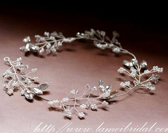 Hand made Rhinestone Crystal Bridal hair vine, silver crystal Wedding Wreath ,Bridal Vine of  Rhinestone, sliver crystal hair vine