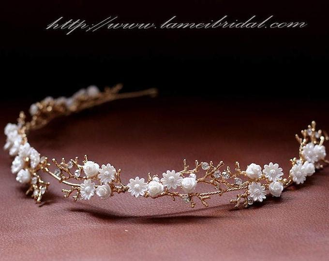 Forest Princess wedding Headband,Floral Bridal Circlet Small Wild Flower Wedding Crown ,white flower Headpiece Wreath Accessory