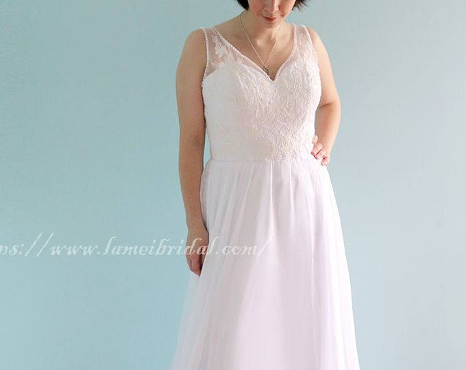 Romantic Sexy V-Neck Floor Length A-line Wedding Dress with Sheer Soft Lace Top, Woodland Bridal Gown-L'Amei Bridal